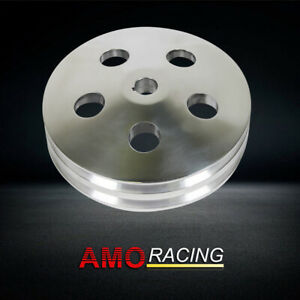 2 Groove Polished Alum Power Steering Pump Pulley Key Way Saginaw Fit Gm Chevy