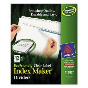 Avery Print Apply Clear Label Dividers W white Tabs 12 tab L 072782115821