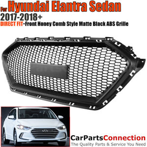 Front Grille For Hyundai Elantra 2017 2018 Sedan Honeycomb Style Matte Black