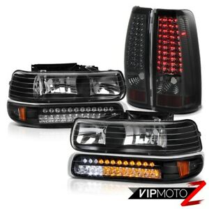 Chevy Silverado Standard Extended Crew Bright Led Smoke Tail Headlight Lamp Set