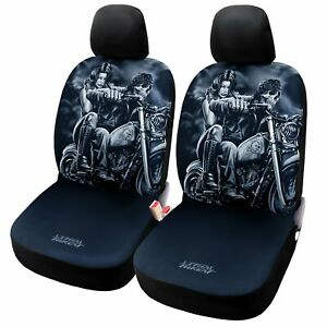 Auto Highway Skull Car Seat Covers 2pcs For Truck Suv Low Back Front Seats