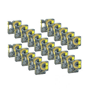 20 Pack Ind Heat shrink Tube 18056 Black On Yellow Tape For Dymo Rhino 5200 12mm