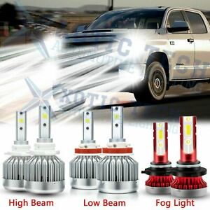 6000k White Led Headlight High Low Fog Light Bulbs Kit For Toyota Tundra 2007 13