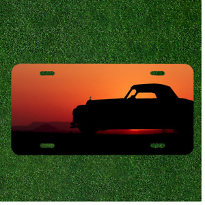 Custom Personalized License Plate Auto Tag With Cool Car And Sunset Design