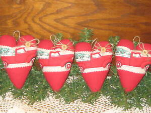 4 Red Truck Hearts Red Flannel Fabric Country Christmas Decor Tree Ornaments