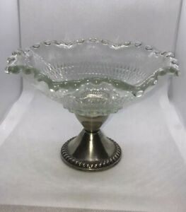 Vintage Duchin Creation Weighted Sterling Silver And Glass Compote Candy Dish