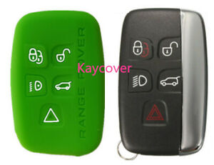 Green Silicone Car Smart Key Cover Suits Range Rover Land Evoque Sport
