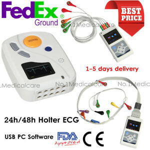 Ecg Holter Analyzer 24h 48h Recorder Fda Patient Monitor 3 12 Lead Pc Software