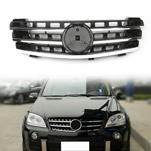 Grill Grille For Benz Ml Class W164 05 08 3 Fin Front Hood Black Chrome Fa