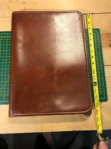 Vintage Deep Buff Cowhide Zip Planner Organizer Brown Leather