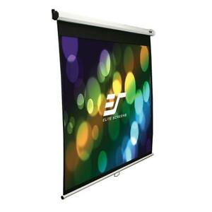 Elite Screens 49 H X 87 W Manual Slow Retract Projection Screen W white Case