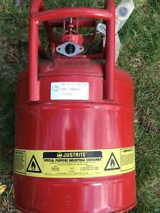 Justrite 10841 Gas Can 5 Gal Red Galvanized Type Ii Safety Can For Flammables