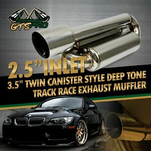Fit Euro Car 1x Twin Canister Style Deep Tone Race Chrome Exhaust Muffler 4 Tip