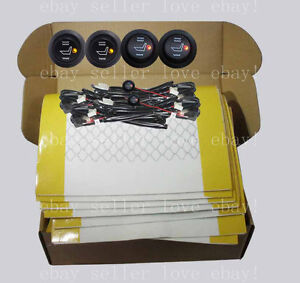 Heated Seat Kit 4 Seats Install Round Switch Seat Heater Carbon Fiber Pads