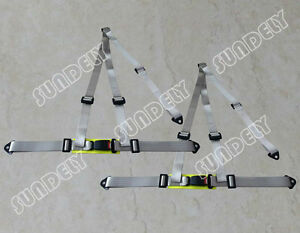 Pair 3 Point Silver Gray Racing Seat Belt Harness Kit For Car Off Road 4x4