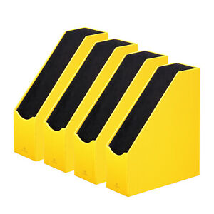 Set Of 4 Yellow Magazine File Holder Collection Home Office Pu Leather Organizer