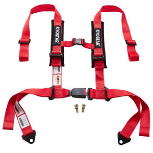 Universal 2 Inch 4 Point Racing Nylon Safety Harness Adjustable Seat Belt Red