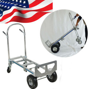 2 In1 Aluminum Hand Truck 770lbs Convertible Portable Foldable Dolly 4wheel Cart