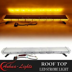 58 Amber Led Warning Emergency Beacon Tow plow Trucks Roof Top Strobe Light Bar