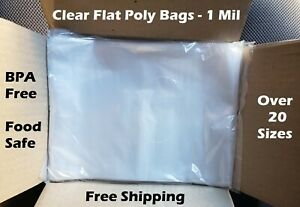 Clear Plastic Bags Packing Shipping Lay Flat Open Top Poly Baggie Fda 1 Mil 1mil