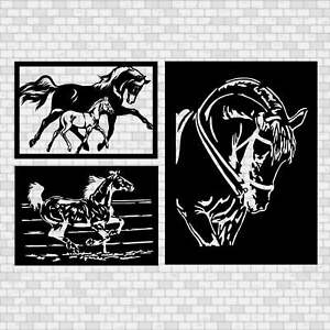3 Dxf Files For Cnc Plasma Laser Cut Or Router Machine Animals Horses Dxf