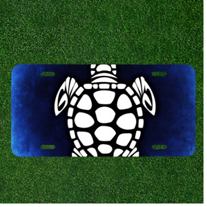 Custom Personalized License Plate Auto Tag With Cool Turtle Design Art