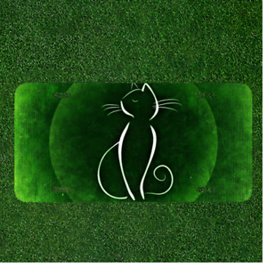 Custom Personalized License Plate Auto Tag With Fancy White Cat And Green Design