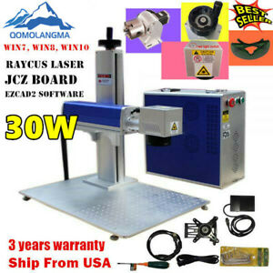 Us 30w Fiber Laser Marking Machine Cnc Laser Metal Engraver With Rotary Axis Fda