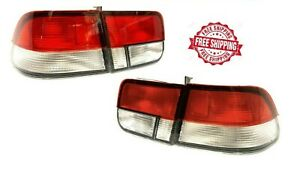 For Honda Civic Coupe 2 Door 96 2000 Tail Lights Rear Red clear Pair Set Lh rh