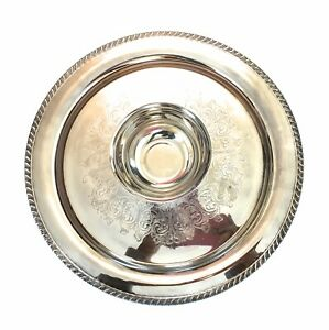 Wm A Rogers Vintage Silver Platter Tray With Center Bowl 15