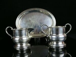Sterling Silver Sugar Bowl Creamer And Tray 288 Grams