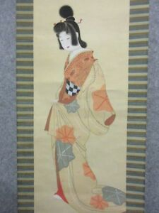 Japanese Painting Hanging Scroll Japan Beauty Woman Lady Antique Vintage 379i