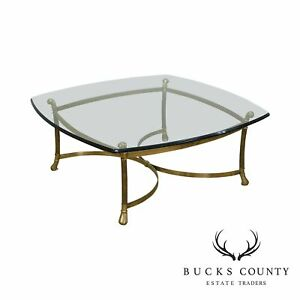 Quality Vintage Brass Base Glass Top Coffee Table