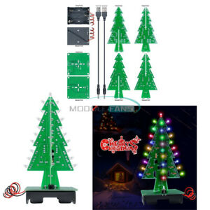 1 2 5 10pcs 3d Christmas Tree Diy Kit 7color Green Red Yellow Flashing Light Led