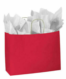 Paper Shopping Bags 100 Red Gift Merchandise 16 X 6 X 12 Large Retail