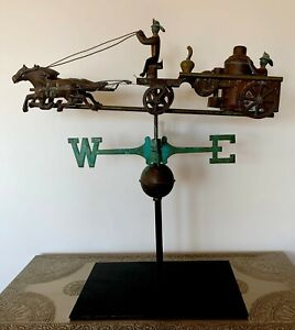 Early American Antique Copper Weathervane 3d Horse Pulled Fire Engine Folk Art