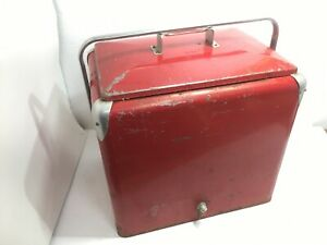 VINTAGE LARGE PROGRESS REFRIGERATOR RED METAL ICE CHEST COOLER WITH METAL TRAY