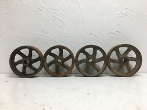 4 Vintage Cast Iron Wheels 5 X 1 1 2 With 5 8 Arbor