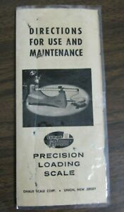 Lyman  OHAUS D-5 Precision Loading Scale Directions for Use & Maintenance