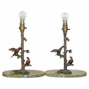 Pair Of Circa 1920 Cold Painted Bronze Lamps Of Present Birds In Trees Onyx Base