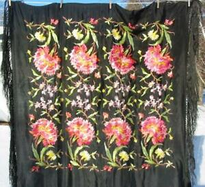 Chinese Embroidered Antique Black Silk Piano Shawl Wrap Orchids Peonies 50 Inch