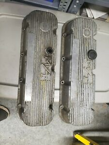 1965 00 Bbc Chevy Mickey Thompson M T Finned Aluminum Valve Covers Pair Hot Rod