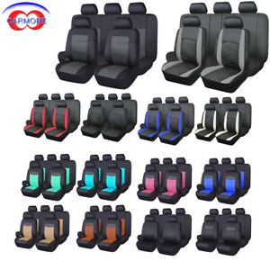 Car Seat Covers Full Set Rear Bench With 3 Zippers Leather Waterproof