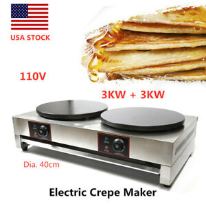 16 New Commercial Double Electric Crepe Maker Pancake Pan Griddle Machine 110v