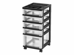 Staples 5 Drawers Durable Storage Organizer Clear black 116865 571771