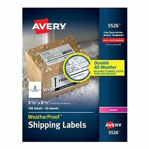 Avery Laser Weatherproof Shipping Labels White 100 box 5526 440733