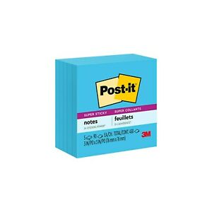 Post it Super Sticky Notes 3 X 3 Electric Blue 90 Sheets pad 258340