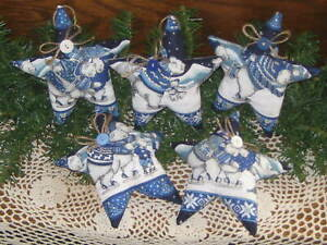 5 Polar Bears Christmas Stars Tree Ornaments Country Home Decor Wreath Accents