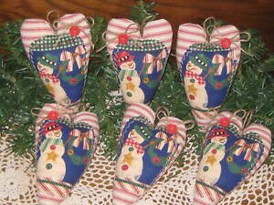 6 Country Christmas Decor Snowmen Fabric Hearts Tree Ornaments Wreath Accents
