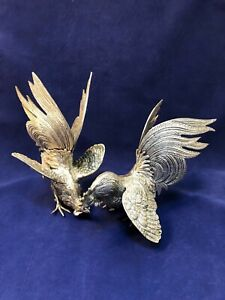 Vintage Silver Metal Fighting Cocks Roosters Statues Set 2